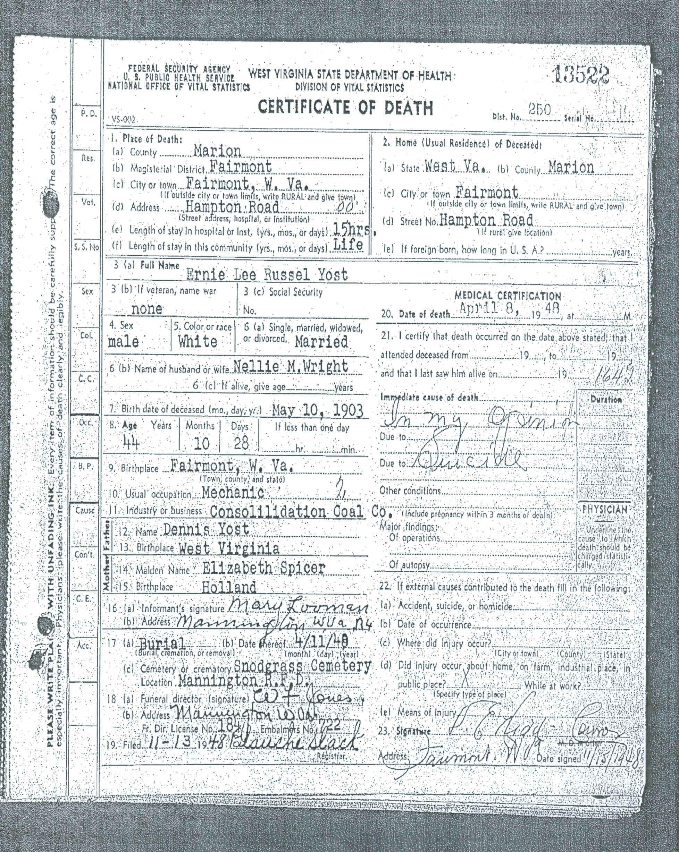 Ernie Yost Death Certificate