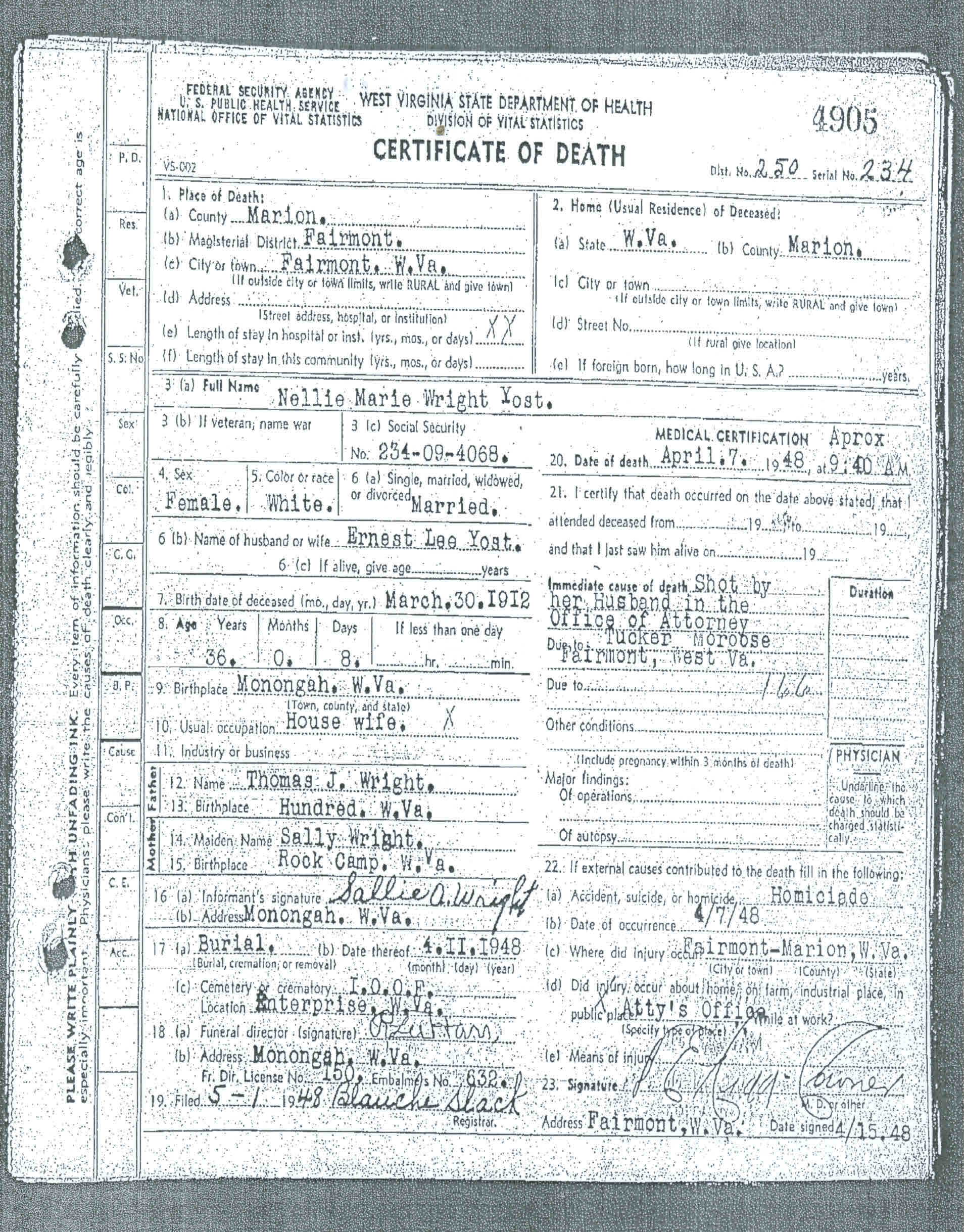 Nellie Yost Death Certificate
